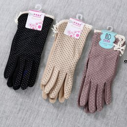 Spring Gloves NZ - Women Short Style Lace Dot Cloth Anti Skidding Glove Driving Cycling Outdoor Sunscreen Gloves Fit Spring Summer 7 5hw ff