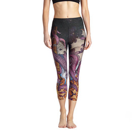 women dance sports UK - Women Yoga Pant Octopus Jellyfish 3D Print Fitness Cropped Leggings Slim 3 4 Trousers Dance Tights Sport Capris Jogging Jeggings