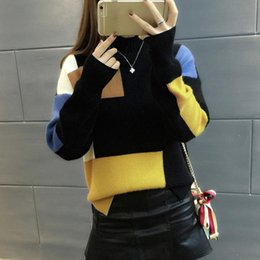 sweater colors turtleneck 2019 - 2018 Women Sweaters And Pullovers Elegant Turtleneck Sweater Women Jumper Autumn Mixed Colors Knitted Pullover Pull Femm