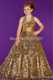 hot girls model NZ - Hot Sale New Gold Sequined Flower Girl Dresses 2017 Halter Neck Sash Princess Little Kid Pageant Party Sweep Train Ball Gown Custom Made