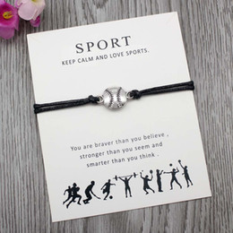 volleyball bracelets 2019 - Custom-Soccer Football Softball Volleyball Baseball Bracelet for Sport Fans Gifts Adjustable Jewelry With Card Greetin c