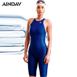 Discount ladies lycra swimwear - Sports One Piece Swimsuit Ladies Shark Skin Like Arena Swimwear Women Three Quarter Shorts Bathing Suits Sport Bodysuit