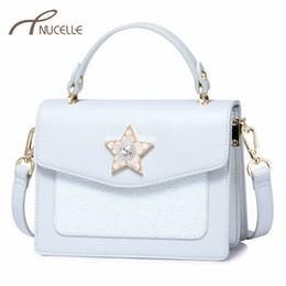 NUCELLE Brand Women s Leather Handbags Ladies Fashion Elegant Messenger Tote  Purse Female Five Star Flap Diamond Crossbody Bags 095e72e46618b