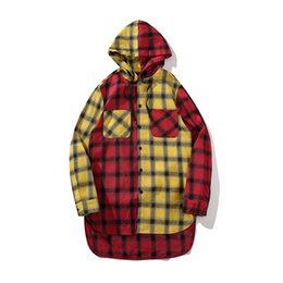 $enCountryForm.capitalKeyWord Canada - ABOORUN Fashion Mens Longline Arc Hem Hooded Shirts Hip Hop Plaid Patchwork Slim Shirts Couples Urban x994