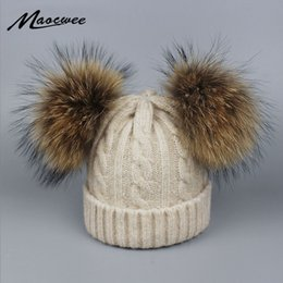 $enCountryForm.capitalKeyWord Australia - Children Real Fur Raccoon Pompom Hat Skullies Baby Boys Girls Winter Beanie Hats Wool Knitted Caps for Kids 0-3 years D18110601