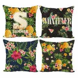 New Embroidered Pillowcases UK - New Pillow Cover Hot Tropical Plant Digital Print Linen Cushion Cover Pineapple Watermelon Plant Cushion Pillowcase Waist Pillow Case
