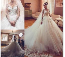 Vente en gros Nouvelle arrivée manches longues robes de mariée col en V 2019 Vestios De Novia De Luxe Dentelle Applique Perles Élégant Robes De Mariée avec Tribunal Train
