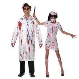 76d2f5786 Umorden Carnaval Partido Dia Das Bruxas Branco Enfermeira Zumbi Enfermeira  Doutor Enfermeira Traje Dos Homens Adultos Adulto Par .