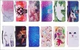fashion cat cartoon 2019 - Fashion Dreamcatcher Marble Wallet Leather Case For Galaxy S9 Plus A8 2018 Cartoon Unicorn Tiger Cat Stone Sea Flip Book