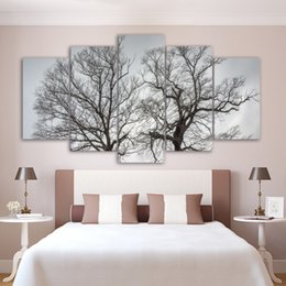 Impressionist Tree Paintings NZ - Art Canvas Painting Print Style 5 Panel Tree Landscape Wall Modular HD Pictures For Living Room Cuadros Modern Framework Decoration