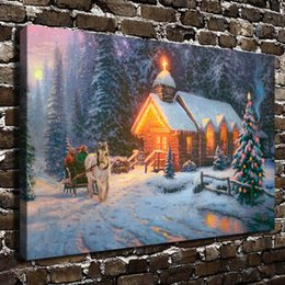 Framed Christmas Paintings Canada - Christmas Chapel,1PC SHome Decor HD Printed Modern Art Painting on Canvas (Unframed Framed)