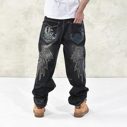 Size 46 Clothes Australia - Plus Size 30-46 Men's Black Baggy Jeans 2018 Cargo Denim Pants For Men Hip Hop Designer Brand Jeans Trousers Big Clothes WS302