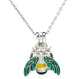 $enCountryForm.capitalKeyWord NZ - Silver Enamel Rhinestone Insect Essential Oil Diffuser Locket Women Aromatherapy Beads Pearl Oyster Cage Necklace Pendant-Boutique gift