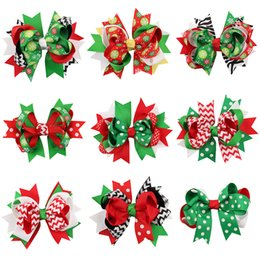 Girl hair zebra online shopping - Christmas Baby Hairpins Barrettes Girls Color Ribbons Bows Dots Zebra Striped Snowflake Clips Hair Accessories Layered Barrettes