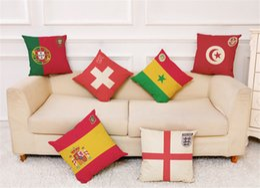 $enCountryForm.capitalKeyWord NZ - 2018 World Cup Pillow Case Cushion Cover Football Team LOGO Car Sofa Cushion Cover 45*45cm 32 Countries National Soccer Team Pillowcase NEW