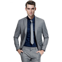 $enCountryForm.capitalKeyWord UK - Custom Made Grey Men Suits for Wedding Beach Groom Tuxedos Smart Casual Slim Fit Best Man Blazers 2 Pieces Jacket Pants Costume Homme