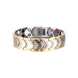 Discount stone bracelet health - Width 15mm Gold Color Health Charm Bracelets Magnetite Bangles Male Magnet Stone Stainless Steel Bracelet Men's Jewelry