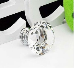 Discount crystal cabinets - Wholesale 2016 New Hot Selling 30mm Diamond Shape Crystal Glass Cabinet Handle Cupboard Drawer Knob Pull