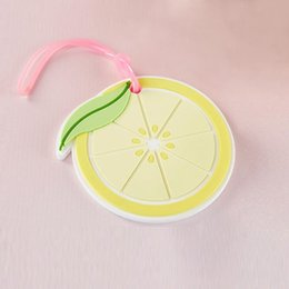 Luggage tags gifts online shopping - Wedding favors lemon slice luggage tag Creative wedding return gifts Travel baggage tags favor Silicone luggage accessories