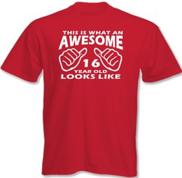 Look Old UK - This Is What An Awesome 16 Year Old Looks Like Mens Funny 16th Birthday T-Shirt