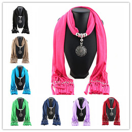 Wholesale Bohemian Tassel Scarf Alloy Round Flower Pendant Jewelry Scarves For Women Ladies Polyester Necklace Scarf Gift