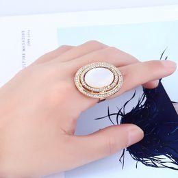 $enCountryForm.capitalKeyWord Australia - Women Adjustable Oval Crystal Rhinestone Ring Hollow Opals Finger Ring Wedding Party Bridal Fashion Jewelry Ring