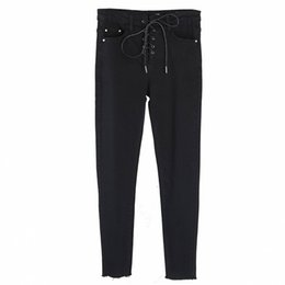 Womens Winter jeans online shopping - YAMY New Fall Womens Jeans Fashion Womens lace up high waist Denim Pant black blue slim Jeans Winter skinny pencil Pant