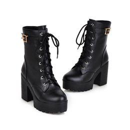 d5f434544af7 2018 Autumn Winter Women Ankle Boots thick Sole Heels Black Lace up Women  Punk Boots Sexy Ladies Boots Shoes Plus Size