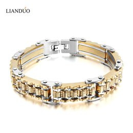gold bicycle charm NZ - 18K Gold Plated Stainless Steel Bracelet Men Heavy Wide Biker Bicycle Motorcycle Chain Men's Bracelets Mens Bracelets & Bangles