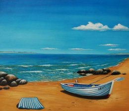 seascapes oil NZ - Handpainted Modern abstract Seascape boat oil painting Still Life Blue sea and the beach on canvas Wall Art canvas Living Room Home Decor