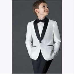 silver kids tuxedo 2019 - Boys Suits for Weddings Children Tuxedo Kid Wedding Prom Suits Custom Made Best Wedding Suit (Jacket+Pants) discount sil