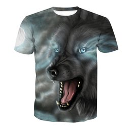 Plus Size Tee Australia - Sky Horror Wolf Print t shirt Men Creative Funny Animal T-Shirts Plus Size Hot Sale Short Sleeve 3D Tees Summer Tee Tops 2018