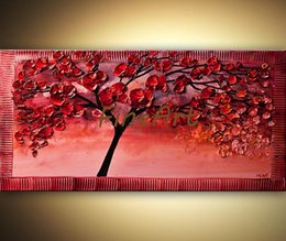 cherry tree paintings Canada - 100% handpainted acrylic painting on canvas cherry tree canvas palette knife texture oil painting art deco oil paintings beautiful artwork p
