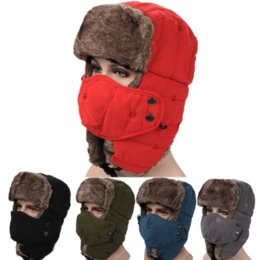 Wholesale Vintage Winter Cotton Fur Hat Bomber Hats for Men Women Keep Warm Earflap Thicken Balaclava Skull Ski Caps with Mask Unisex Trapper Hats