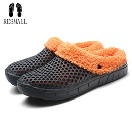 winter men warm home slippers NZ - wholesale Casual Crocus Clogs With Fur Winter Shoes For Men Soft Plush Slippers Fleece Lining Home Floor Warm Slipper Men Shoes