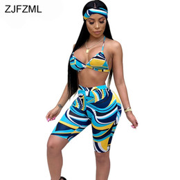 Wholesale ZJFZML Sexy Print Piece Tracksuit For Women Clothes Summer Crop Top And Beach Boho Short And Head Scarf Club Matching Set