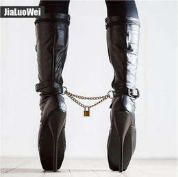 Pink ballet knee boots online shopping - 18cm quot Women Spike High Heels Fetish BALLET Black Knee high Boots lace up Pink Man Sexy BDSM Cosplay Shoes unisex boot Plus size