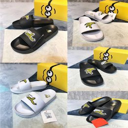 d9b193852eed Discount minions fashion - Fashion New Minion banana Beach Slippers striped  Sandals Cartoon Causal Non-