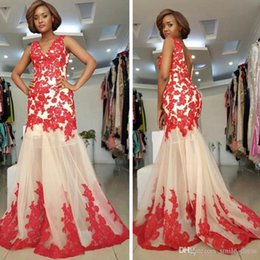 $enCountryForm.capitalKeyWord NZ - Champagne and Red Mermaid Long Evening Dresses Lace Appliques Backless Formal Gowns Custom Made Party Prom Dress