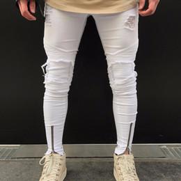 Jogger Jeans Ripped Mens Canada - Hip Hop Brand Designer Slim Fit Ripped Jeans Men Hi-Street Mens Distressed Denim Joggers Knee Holes Washed Destroyed Jeans