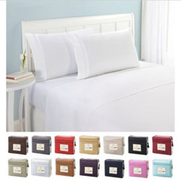 $enCountryForm.capitalKeyWord Australia - Solid color Bedding Set Flat sheet Fitted sheet Pillowcase 4pcs US Twin Full Queen King California King Brief style Bed linens