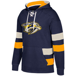 Chinese  Mens Womens Youth Kids Custom Nashville Predators Cheap Top Quality Embroidery Navy Red Yellow Grey Hockey Hoodies with Any Name & Any No. manufacturers