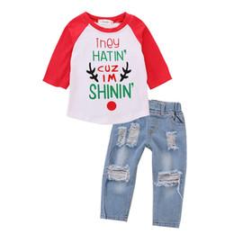 BaBy pants holes online shopping - Xmas baby boys Denim outfits children Christmas deer letter print Tops Hole cowboy pants sets Autumn kids Clothing Sets C5315