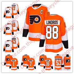 Philadelphia Flyers 2018 Hot Sale  1 Bernie Parent 7 Bill Barber 16 Bobby  Clarke 88 Eric Lindros White Orange Stitched Hockey Jersey S-60 8a5b0a7b6