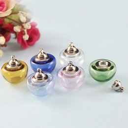 vial charms 2019 - 4PCS 20MM Corlorful Apple with Metal Screw Cap and Rubber Seal Mini vials pendants tiny vial charms glass vial pendant c
