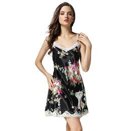 7c32fa24c3 Silk Batik UK - 2016 New 100% Silk Satin Women Nightgown with Printing  Flower Black