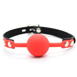 Solid ball gag online shopping - Adult games Restraints Solid Silicone Red Mouth Ball Gag With Lock Sex Products Toys For Couples Fetish Erotic Role Play Games