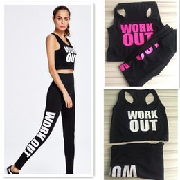 Bodycon Yoga Pants Canada - Free Size Women Yoga Sportswear Work out Vest Pants Bodycon Jumpsuit Letter Printed Bra Tops Tights Pants Sport Suit Lady Jogging Tracksuits