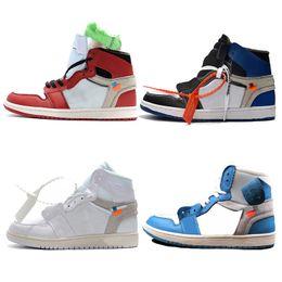 Горячая 1 баскетбол обувь UNC мужской бренд спортивные кроссовки открытый тренеры красный синий белый высокое качество двойной штучной упаковке