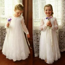 Wholesale Lovely Flower Girl Dress Jewel Neck Illusion Lace Long Sleeves Vintage Flowergirl Dresses for Weddings First Communion Gowns